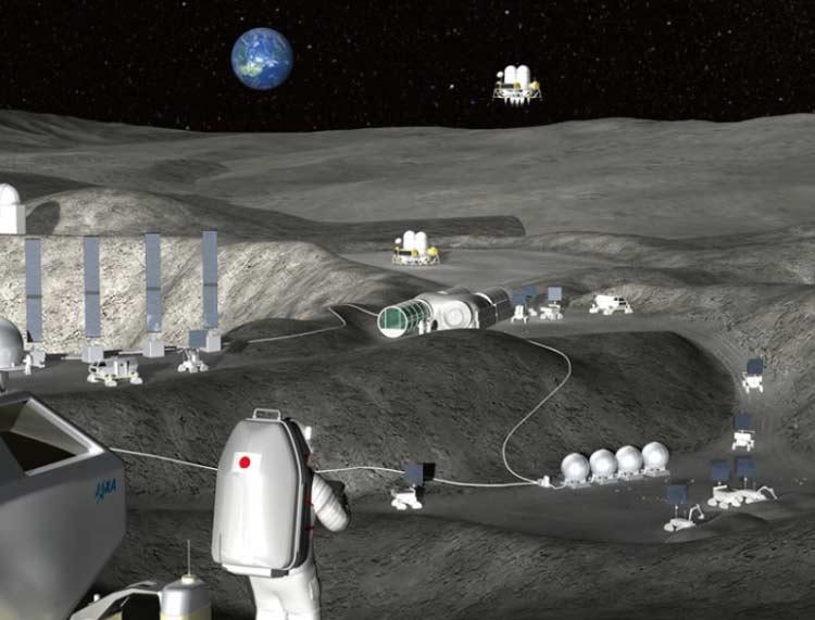 تصویر مفهومی که فضانوردان را در کنار پایگاه ماه نشان میدهد